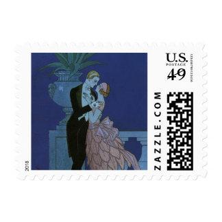 Vintage Art Deco Love Romance Newlyweds Wedding Postage Stamp