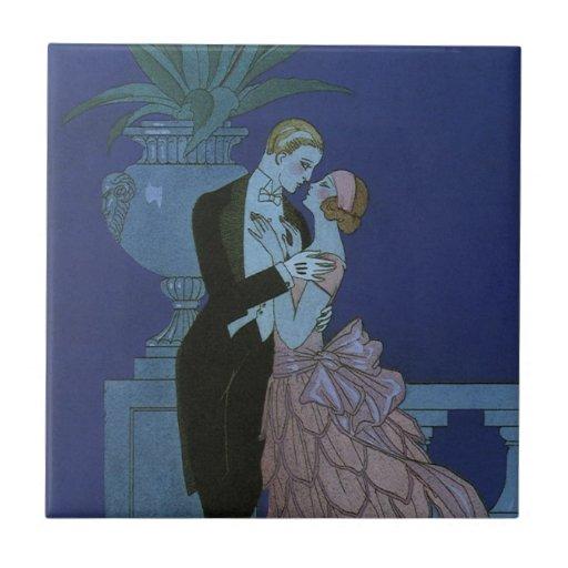 Vintage Art Deco Love Romance Newlyweds Wedding Tile