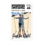 Vintage Art Deco Love Romance Skis Save the Date Postage Stamps