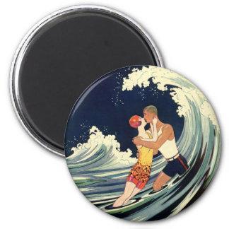 Vintage Art Deco Love Romantic Kiss Beach Wave 2 Inch Round Magnet