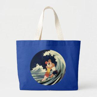 Vintage Art Deco Love Romantic Kiss Beach Wave Jumbo Tote Bag