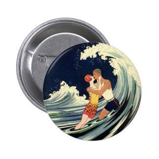 Vintage Art Deco Love Romantic Kiss Beach Wave Pinback Button