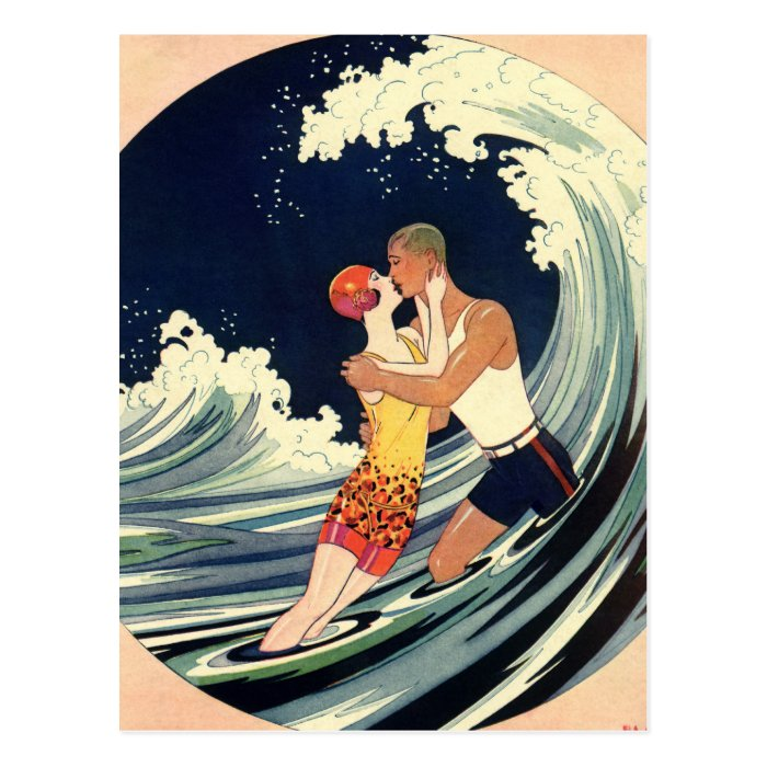 Vintage art deco love romantic kiss beach wave postcard for Proantic art deco