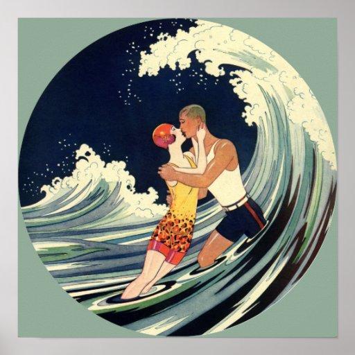 Vintage Art Deco Love Romantic Kiss Beach Wave Posters