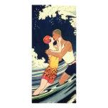 Vintage Art Deco Love Romantic Kiss Beach Wave Customized Rack Card