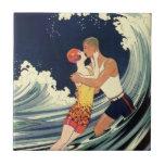 Vintage Art Deco Love Romantic Kiss Beach Wave Small Square Tile
