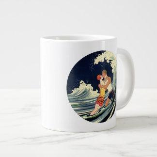 Vintage Art Deco Love Romantic Kiss Beach Wave Jumbo Mug