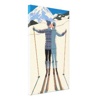 Vintage Art Deco Love Romantic Kiss on Skis Snow Canvas Print