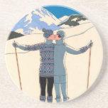 Vintage Art Deco Love Romantic Kiss on Skis Snow Drink Coaster