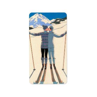 Vintage Art Deco Love Romantic Kiss on Skis Snow Address Label