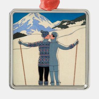 Vintage Art Deco Love Romantic Kiss on Skis Snow Metal Ornament