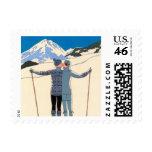 Vintage Art Deco Love Romantic Kiss on Skis Snow Stamp