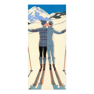 Vintage Art Deco Love Romantic Kiss on Skis Snow Custom Rack Card