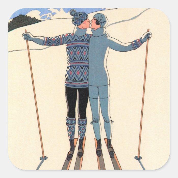 Vintage Art Deco Love Romantic Kiss on Skis Snow Square Sticker