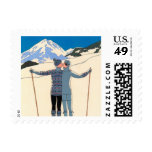 Vintage Art Deco Love Romantic Kiss on Skis Snow Stamps