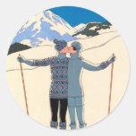 Vintage Art Deco Love Romantic Kiss on Skis Snow Round Stickers