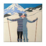 Vintage Art Deco Love Romantic Kiss on Skis Snow Tile