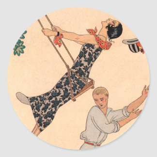 Vintage Art Deco Love, The Swing by George Barbier Classic Round Sticker
