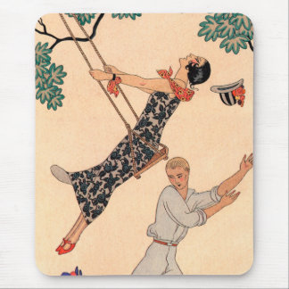 Vintage Art Deco Love, The Swing by George Barbier Mouse Pad