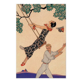 Vintage Art Deco Love, The Swing by George Barbier Poster