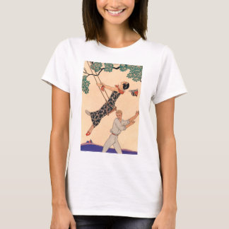 Vintage Art Deco Love, The Swing by George Barbier T-Shirt