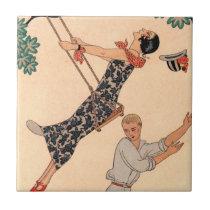 Vintage Art Deco Love, The Swing by George Barbier Tile