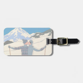 Vintage Art Deco, Lovers in Snow by George Barbier Luggage Tag