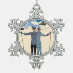 Vintage Art Deco, Lovers In Snow By George Barbier Snowflake Pewter Christmas Ornament at Zazzle