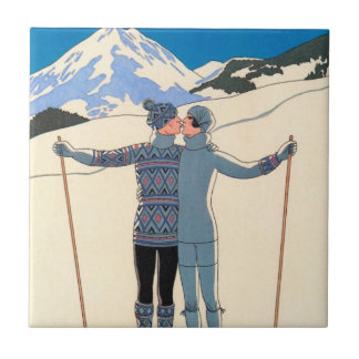 Vintage Art Deco, Lovers in Snow by George Barbier Tile
