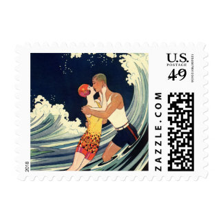Vintage Art Deco, Lovers Kiss at the Beach Postage