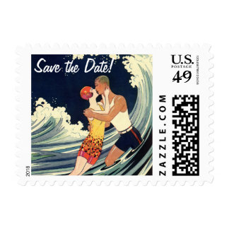 Vintage Art Deco Lovers Kiss by Wave Save the Date Postage