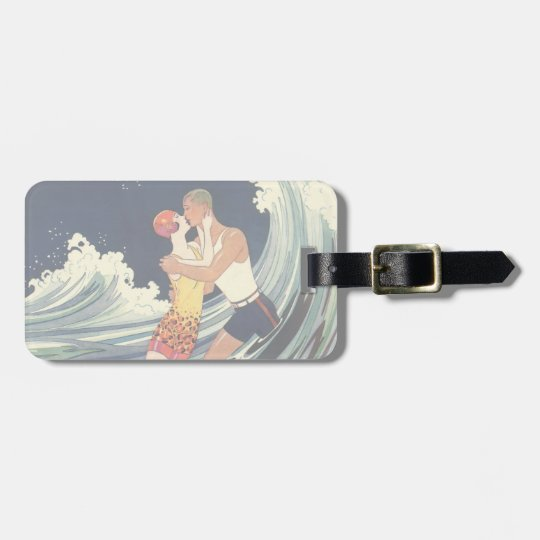 Vintage Art Deco Lovers Kiss in the Waves at Beach Bag Tag