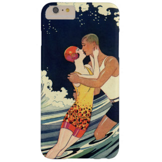 Vintage Art Deco Lovers Kiss in the Waves at Beach Barely There iPhone 6 Plus Case