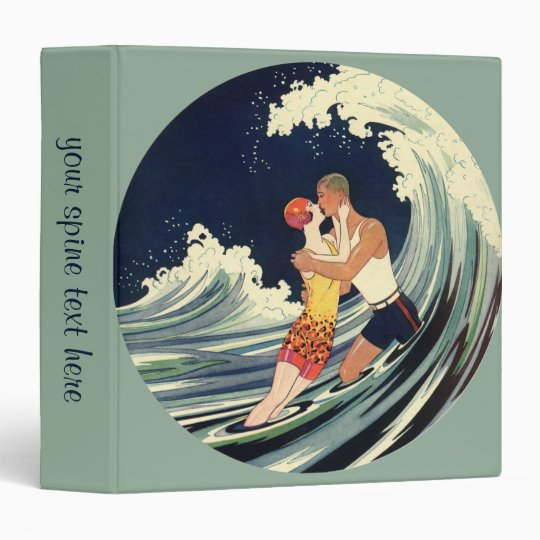 Vintage Art Deco Lovers Kiss in the Waves at Beach Binder