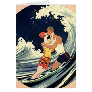 Vintage Art Deco Lovers Kiss in the Waves at Beach Card