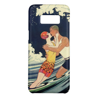Vintage Art Deco Lovers Kiss in the Waves at Beach Case-Mate Samsung Galaxy S8 Case