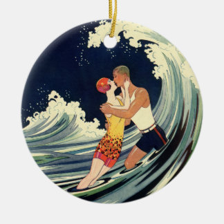 Vintage Art Deco Lovers Kiss in the Waves at Beach Ceramic Ornament