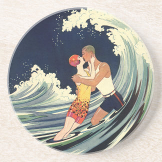 Vintage Art Deco Lovers Kiss in the Waves at Beach Drink Coaster