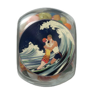Vintage Art Deco Lovers Kiss in the Waves at Beach Glass Jar