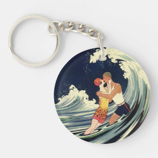 Vintage Art Deco Lovers Kiss in the Waves at Beach Keychain