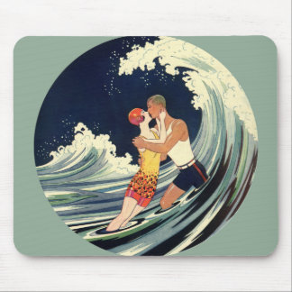 Vintage Art Deco Lovers Kiss in the Waves at Beach Mouse Pad