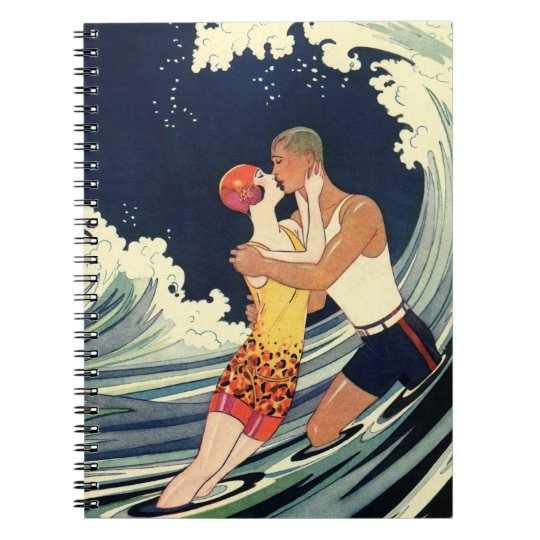 Vintage Art Deco Lovers Kiss in the Waves at Beach Notebook