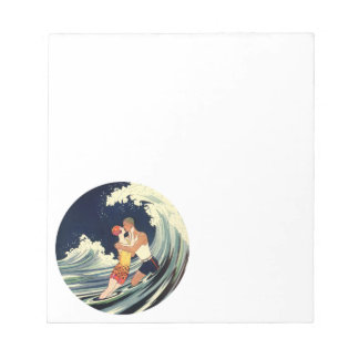 Vintage Art Deco Lovers Kiss in the Waves at Beach Notepad