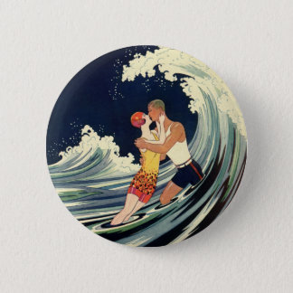 Vintage Art Deco Lovers Kiss in the Waves at Beach Pinback Button