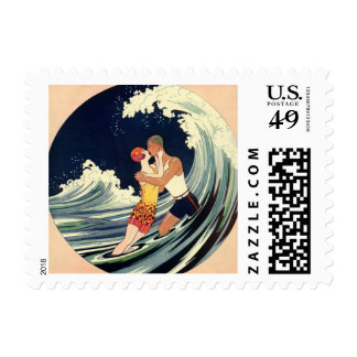 Vintage Art Deco Lovers Kiss in the Waves at Beach Postage