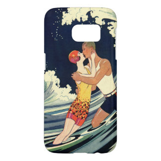 Vintage Art Deco Lovers Kiss in the Waves at Beach Samsung Galaxy S7 Case