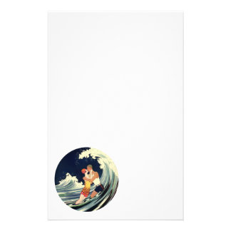Vintage Art Deco Lovers Kiss in the Waves at Beach Stationery