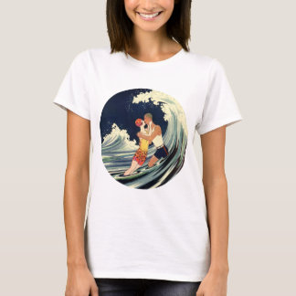 Vintage Art Deco Lovers Kiss in the Waves at Beach T-Shirt