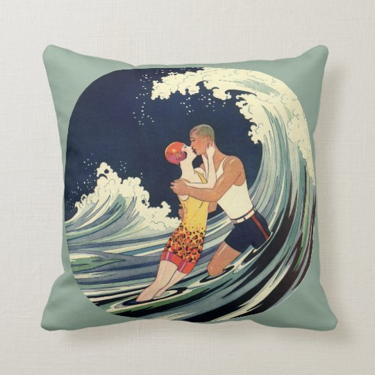Vintage Art Deco Lovers Kiss in the Waves at Beach Throw Pillow