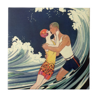 Vintage Art Deco Lovers Kiss in the Waves at Beach Tile